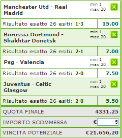 pronostici e scommesse champions league 5 - 5 marzo 2013