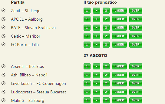 pronostici preliminari champions league