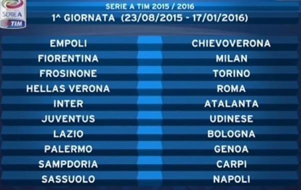 Calendario Serie A 1 Giornata.Calendario Serie A 2015 2016 Risultati Vincenti